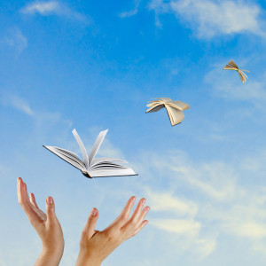 Books flying from hand